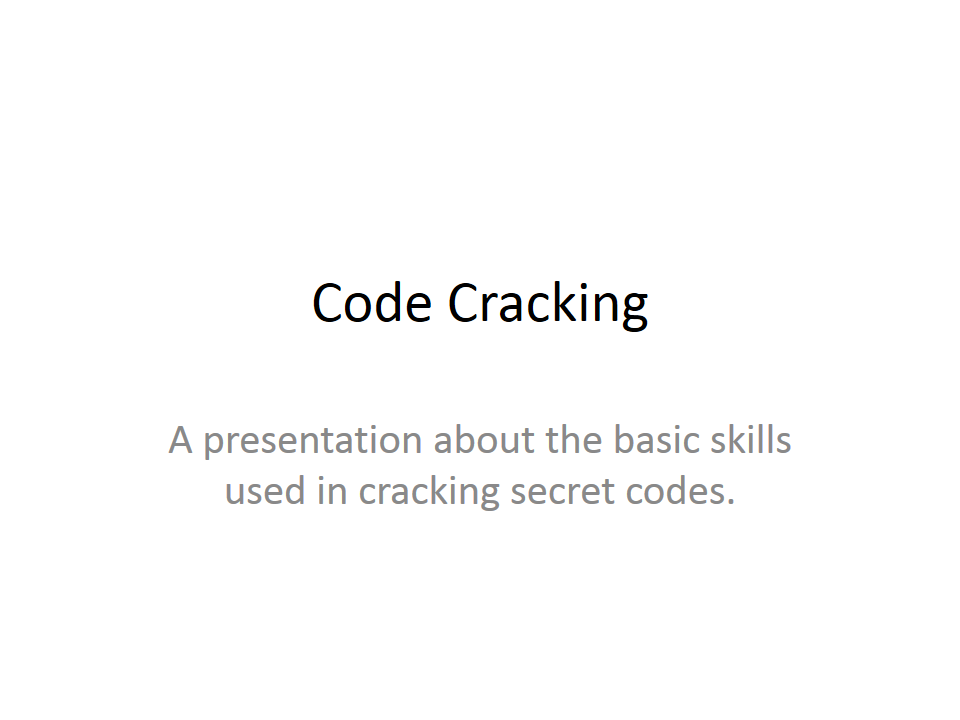 Code Cracking Presentation