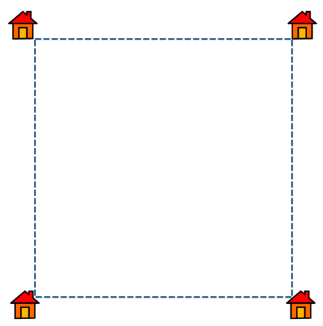 Shortest Route Between Four Houses at the Corners of a Square