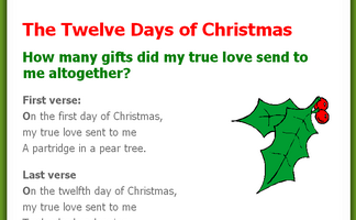 How Many Gifts Are In The Twelve Days Of Christmas.The Twelve Days Of Christmas