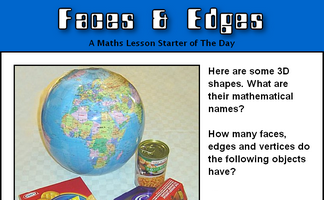 Shape (3D) Lesson Starters and Online Activities